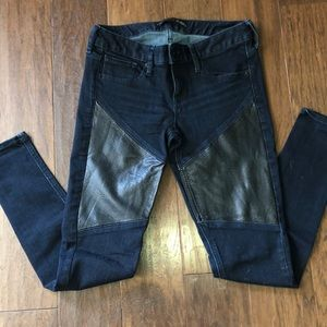 Express Faux Leather Insert Jeans